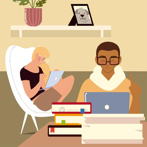 woman and man working on laptop in the room with books, work at home