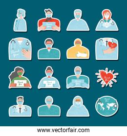 thanks you, medical staff characters world heart, icons stickers