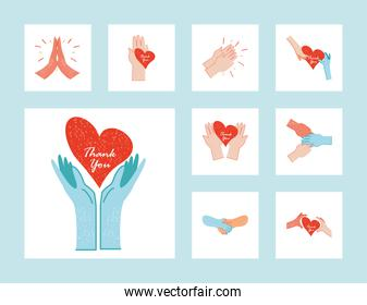 thanks you doctors and nurses hands with hearts