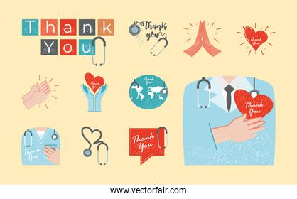 thanks you, icons set heart hands world doctor