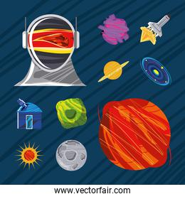space icons set astronaut spaceship planet moon telescope and sun
