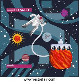 space astronaut rover planet exploration discovery abstract style