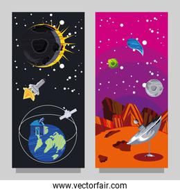 space science galaxy astronomy planet eclipse satellite rocket and antenna