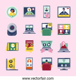 video conference meeting, seminar digital technology work icons