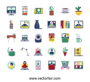 video conference webinar and online communication icon set