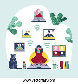 video conference woman online meeting workspace concept