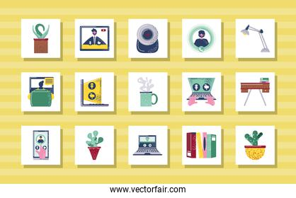 video conference communication meeting work icon set