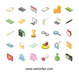 tax day clipboard calendar money document laptop computer glasses magnifier piggy bank icons isometric