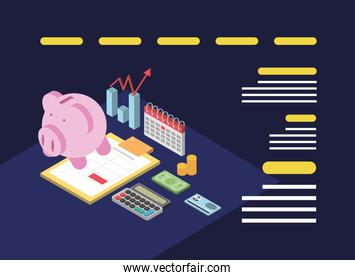 tax day, schedule piggy bank calculator form and money isometric