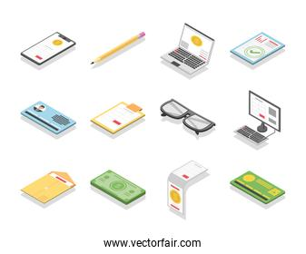 tax day digital smartphone laptop money digital devices icons isometric