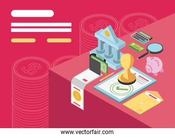 tax day, payment document piggy bank money calculator isometric