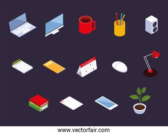 office workspace computer laptop calendar smartphone coffee cup books icons