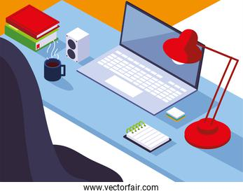 home office workspace desk laptop lamp notepad books coffee cup