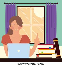 woman sitting at desk in room, looking at computer screen, work at home