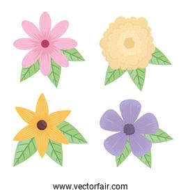 bundle of four flowers and leafs icons