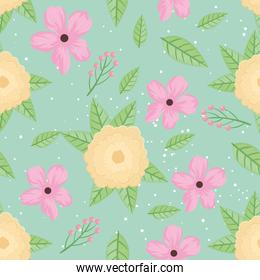 pink and yellow flowers and leafs spring pattern