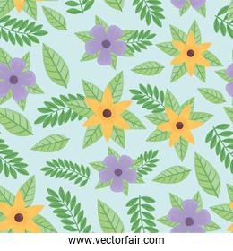 purple and yellow flowers and leafs spring pattern