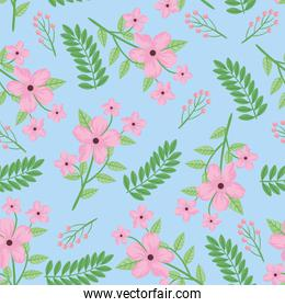 pink flowers and leafs spring pattern
