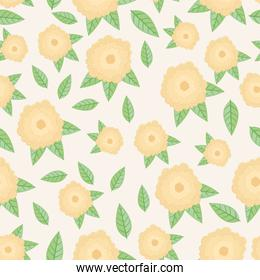 cream color flowers and leafs spring pattern