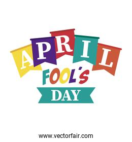 april fools day lettering with ribbon frame