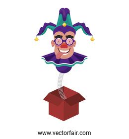 clown wearing joker hat and mask in surprise box fools day accessory