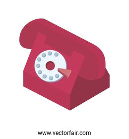 red telephone call service isometric icon