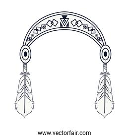 feather hanging in headband tribal style icon