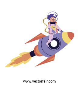 astronaut boy in rocket comic character icon