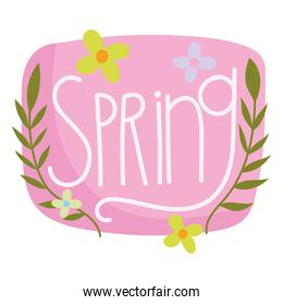 spring hand drawn text flowers branches nature