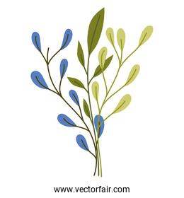 cartoon branch leaves foliage nature isolated style