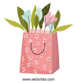 paper bag with flowers leaves decoration isolated style