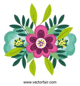 flowers leaves nature arrangement isolated style