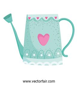 garden watering can with hearts decoration isolated style