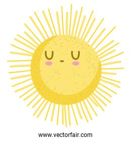 cartoon sun summer hot weather isolated style