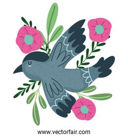 bird flowers leaf branch natural isolated style