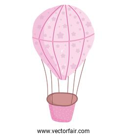 pink hot air balloon adventure isolated white background