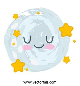 cute moon stars cartoon isolated white background