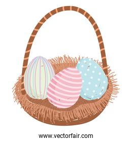 happy easter, painted eggs decoration in basket isolated white background