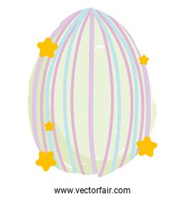 happy easter decorative egg with lines and stars isolated white background