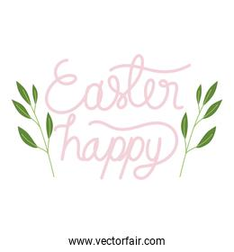 happy easter handmade letters with foliage decoration white background