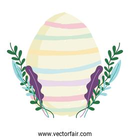 cute easter colored stripes egg with foliage nature white background