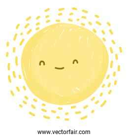 cute sun summer hot weather white background