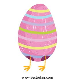 cute easter egg with legs chicken cartoon white background