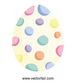 cute easter dotted egg decoration white background