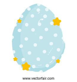 cute easter blue egg with dots and stars decoration white background