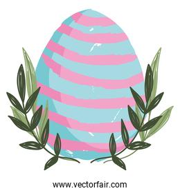 cute easter delicate egg with bracnhes decoration white background