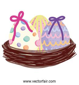cute easter decorative eggs in basket white background