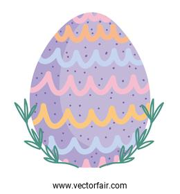 cute easter painted egg decoration white background