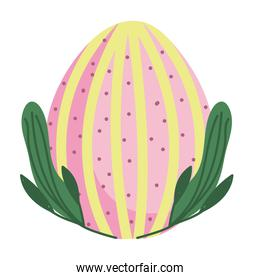 cute easter egg with lines and dots decoration white background
