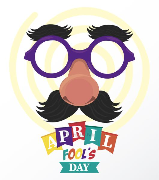 april fools day lettering with funny mask
